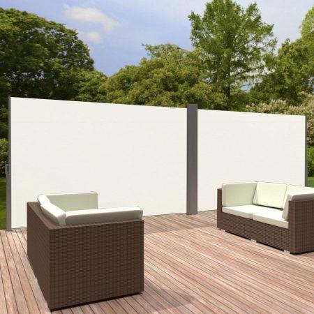 Szélfogó térleválasztó kültéri és beltéri paraván dupla méret 180x600 cm fehér