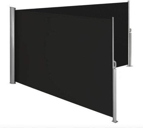 Szélfogó térleválasztó kültéri és beltéri paraván dupla méret 180x600 cm fekete