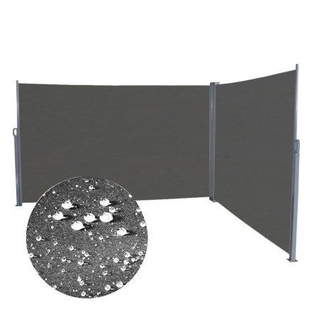 Szélfogó térleválasztó kültéri és beltéri paraván dupla méret 200x600 cm antracit