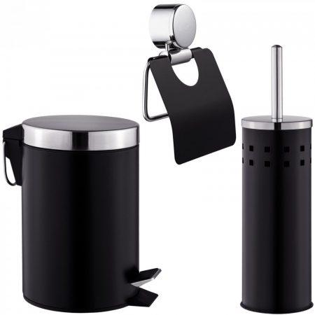 3 db-os fürdőszoba készlet WC papír tekercs tartó + WC kefe + szemetes kuka vödör