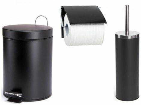3 db-os fürdőszoba készlet WC papír tekercs tartó + WC kefe + szemetes kuka vödör fekete színben