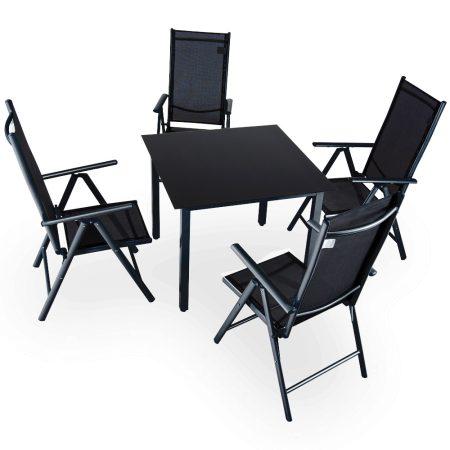 4 db-os kerti szék készlet poliészter szövet fekete ülőgarnitúra asztallal