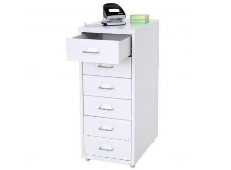 Acél fiókos szekrény kisszekrény Gurulós irattartó konténer 6 fiókkal