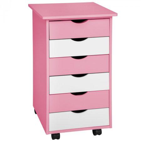 Fiókos szekrény rózsaszín - fehér kisszekrény. Gyerekebútor játéktartó konténer