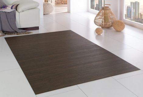 Bambusz szőnyeg választható méretben sötétre hőkezelt, keményített, természetes barna fel
