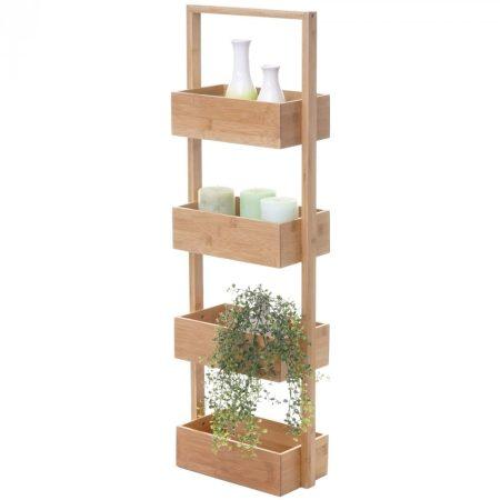 Bambusz polc fürdőszobai tároló kosár 68x28x15