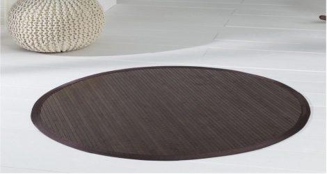 Kerek bambusz szőnyeg szegéllyel választható méretben sötétre hőkezelt