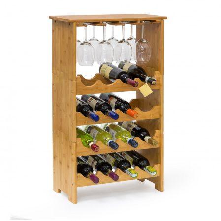 Bambusz bortartó 16 palack borhoz és 12 pohárhoz