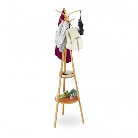 Bambusz álló ruhafogas polcokkal 178 x 50 x 50 cm