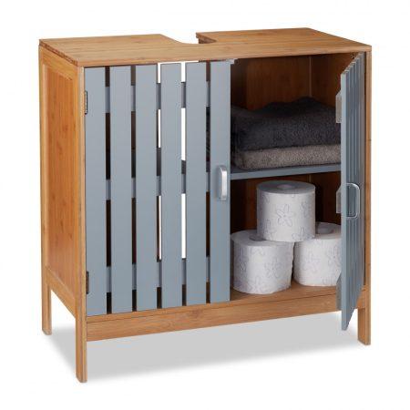 Bambusz fürdőszoba szekrény mosdó alá tehető szürke ajtóval
