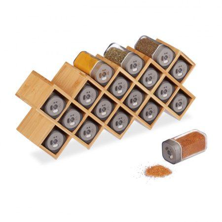 Bambusz fűszertartó állvány 18 fűszertartóval