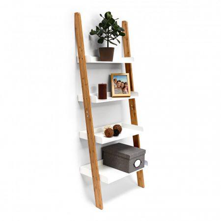 Bambusz létrapolc 4 szintes fehér színű polcokkal