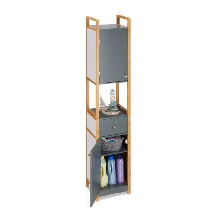 Modern magas szekrény bambusz kerettel szürke és natúr színben