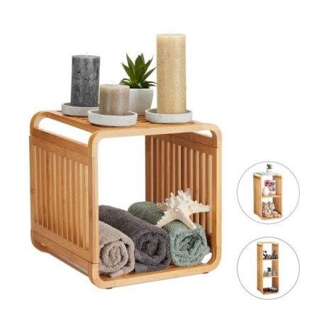 Bambusz kis polcos szekrény 33 x 33 x 33 cm
