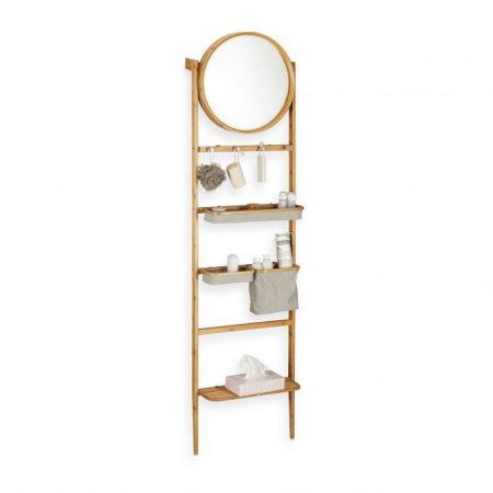 Bambusz létrapolc forgatható tükörrel