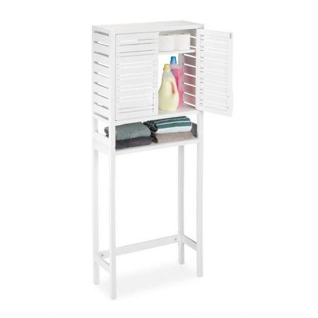 Bambusz szekrény mosógéphez fehér színben