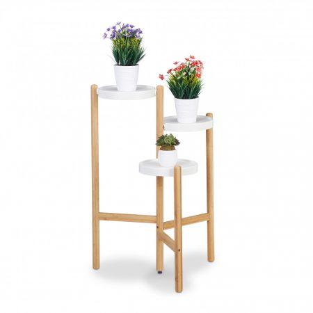 Három lépcsős kerek bambusz virágtartó bambusz-fehér színben