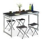 Kempingasztal Bőrönd asztal 4 szék összecsukható piknikre alumíniumból, vasból és MDF-ből