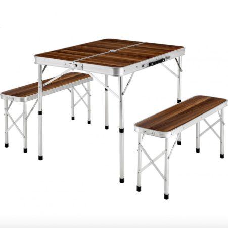Bőrönd asztal 2 paddal összecsukható könnyű piknik asztal szett alumínium kerettel