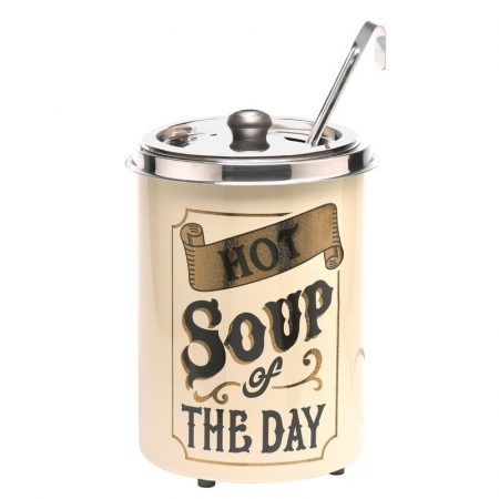 """Leveses chafing vintage stílusú, 5 literes """"Hot soup of the day"""" felirattal"""