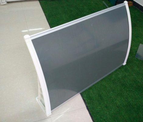 Előtető 270x100cm fehér keret szürke plexi tető