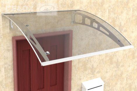 Előtető alumínium tartókar víztiszta polikarbonát borítással. Esővédő tető 120x100