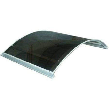 140x90 cm alumínium féltető előtető fehér tartókar, barna tömör polikarbonát borítással. Féltető alu