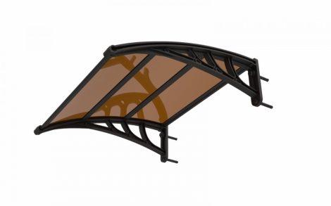 Esővédő tető polikarbonát 120x100 barna tartókeret tömör víztiszta tetőlap bejárati ajtó vagy