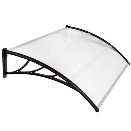 AKCIÓS Előtető polikarbonát 150x100 Fekete keret áttetsző fehér tető például bejárati ajtó vagy abla