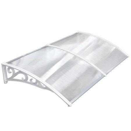 Előtető polikarbonát 190x100 Fehér keret áttetsző üvegkamrás tető például bejárati ajtó vagy ablako