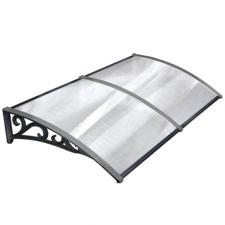 Előtető polikarbonát 190x100 Fekete keret áttetsző üvegkamrás tető például bejárati ajtó vagy ablako