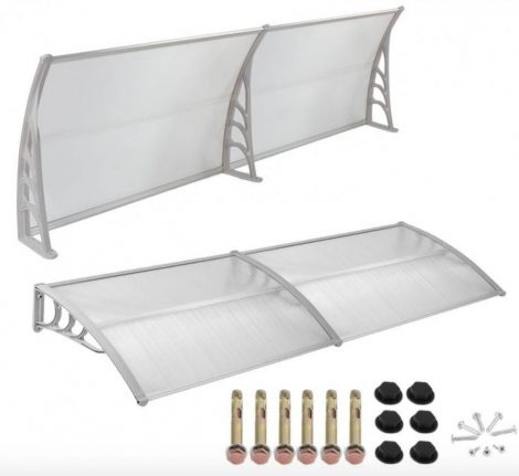 Védőtető polikarbonát 300x90 szürke keret áttetsző fehér tető például bejárati ajtó, ablakok föl