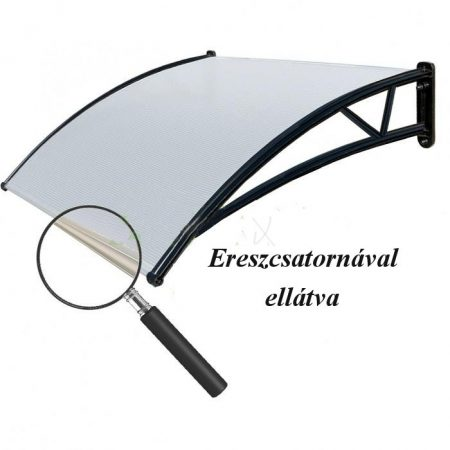 Ereszcsatornával ellátott előtető polikarbonát 150x100 Fekete keret áttetsző fehér tető.