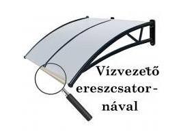 Előtető polikarbonát 300x90 Fekete keret áttetsző fehér tető ablakok bejárati ajtó védelmére