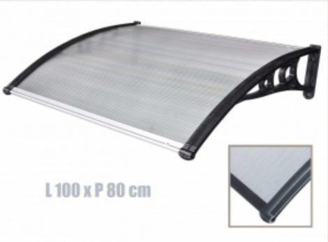 ITALFORM előtető 100x80 cm bővíthető, fekete keret színtelen üregkamrás polikarbonát.