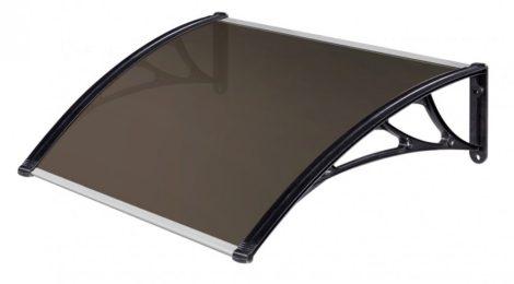 A szokásosnál nagyobb kinyúlású előtető 120x120 fekete keret üregkamrás bronz polikarbonát