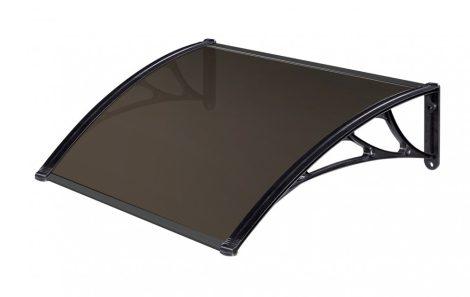 Előtető egyenes 120x60 cm fekete keret bronz polikarbonát tetőlap ZENN típusú