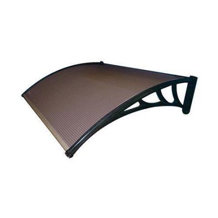 ZENN előtető 150x100 cm fekete keret és színtelen, bronz üregkamrás víztiszta polikarbonát előren