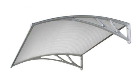 A szokásosnál nagyobb kinyúlású előtető 150x120 szürke keret áttetsző üregkamrás polikarbonát