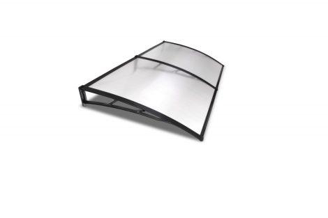A szokásosnál nagyobb kinyúlású előtető 200x120 fekete keret áttetsző üregkamrás polikarbonát