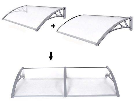 Előtető polikarbonát 240x100 szürke keret átlátszó polikarbonát tető például ablak fölé