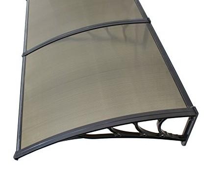 Előtető polikarbonát 240x100 fekete keret bronz  áttetsző tető például bejárati ajtó fölé