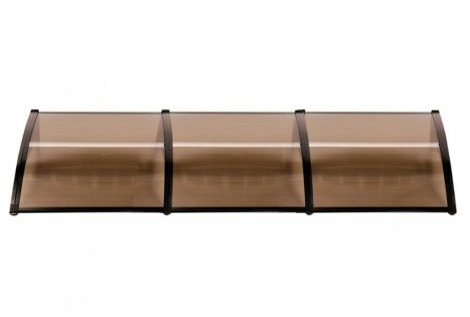 Előtető egyenes 300x60 cm fekete keret bronz polikarbonát tetőlap ZENN típusú