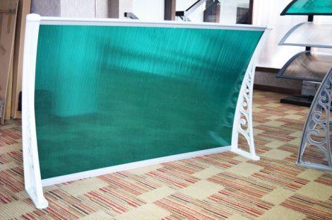 Előtető 120x100cm fehér keret zöld polikarbonát