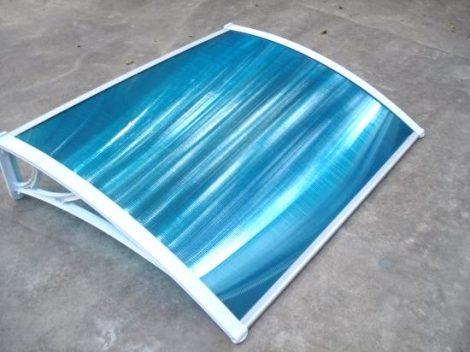 Előtető polikarbonát 120x100 Fehér keret áttetsző kék tető például bejárati ajtó vagy ablakok főlé