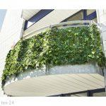 Erkélytakaró belátásgátló zöld műsövény korlát takaró háló élethű szőtt levelekkel 300x100 cm teker