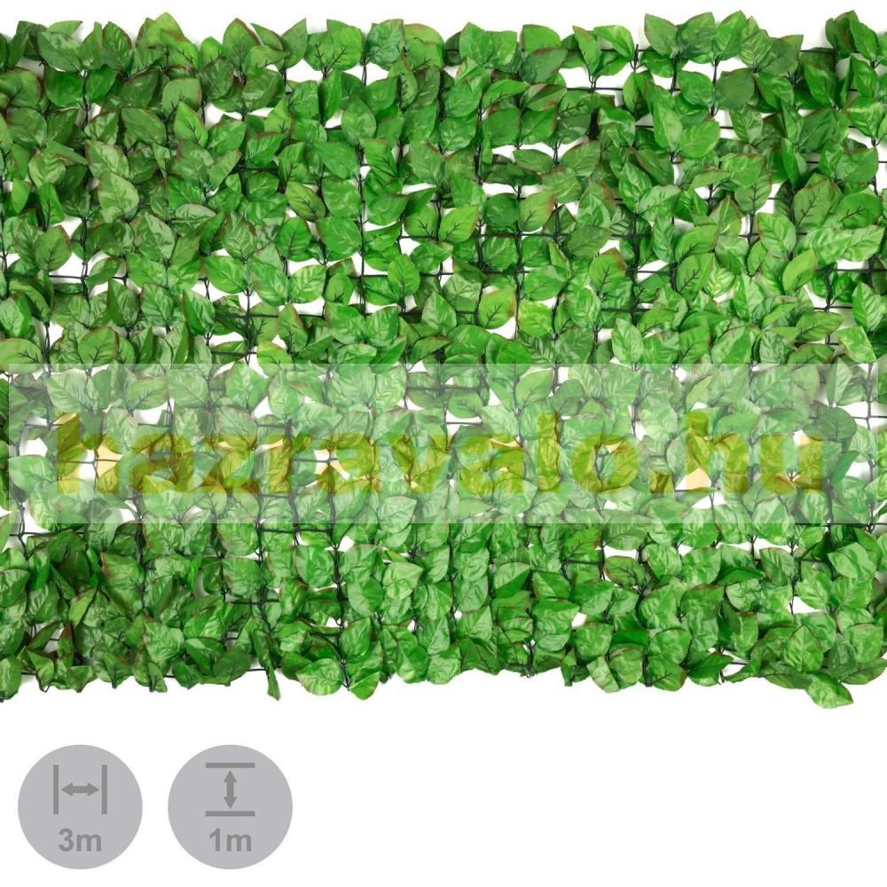Műsövény erkélyre kerítésre belátásgátló zöld műlevelek Takaró háló élethű  szőtt levelekkel 300x150 2fc8147a84