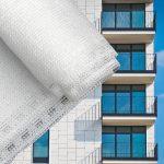 Erkélyponyva korlát takaró belátásgátló balkonháló 75 cm széles 6 méter hosszú fehér