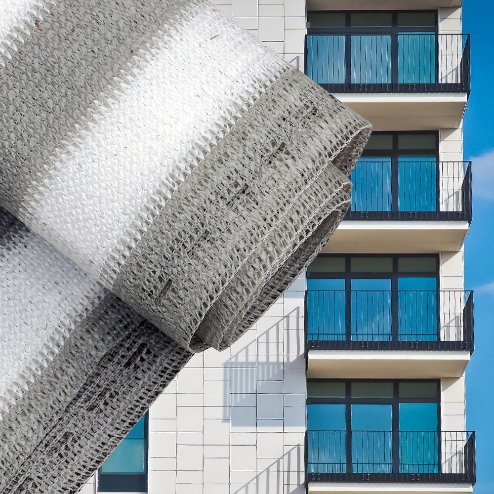 Erkélyponyva korlát takaró belátásgátló balkonháló 90 cm széles 6 méter  hosszú fehér-szürke csíkos 8b511270ce