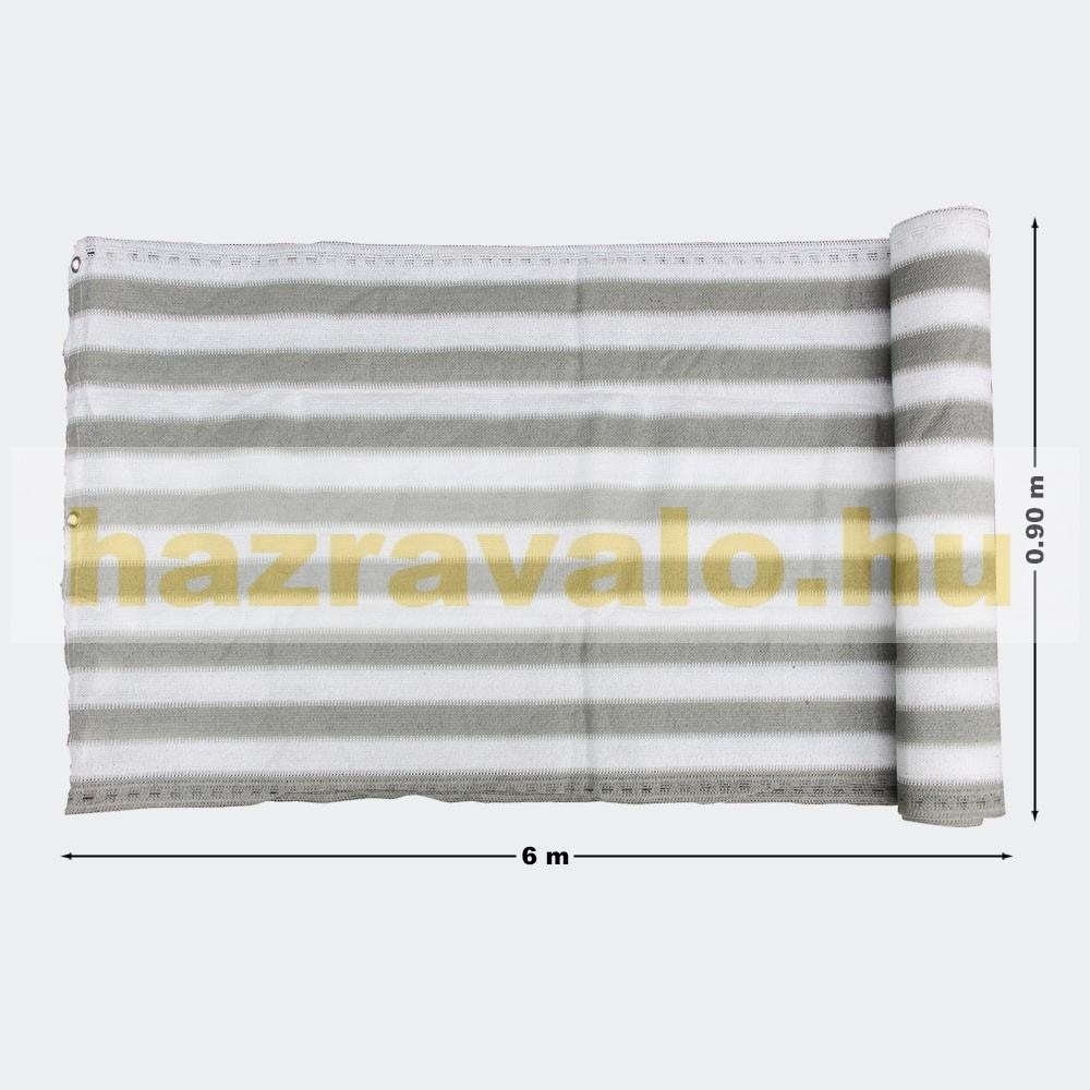 Erkélyponyva korlát takaró belátásgátló balkonháló 90 cm széles 6 méter  hosszú fehér-szürke csíkos 81a787a309